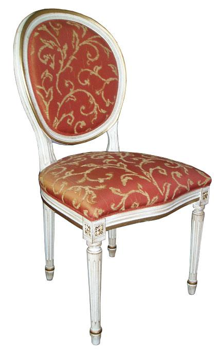Ref.257 Chair Coil Sprung Louis XVI Antique White & Gold