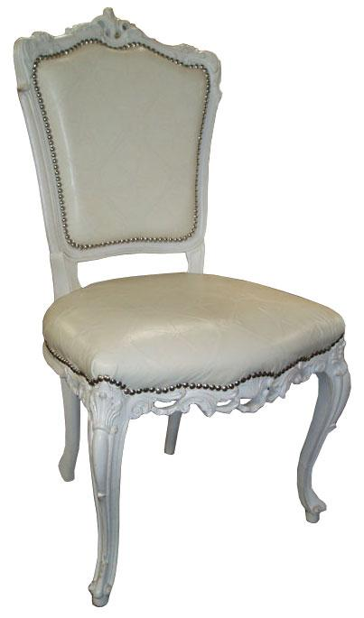 Ref.262 Chair Baroque Coil Sprung, Old White Leather Cream